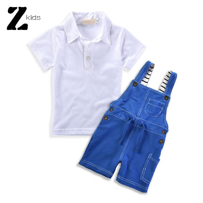 New 2015 Hot Summer Bib Overalls Boy Children Clothing Set Polo Kids Tees Shirt + Short Pants 1-6 Years Gentleman Kids Outfit(China (Mainland))
