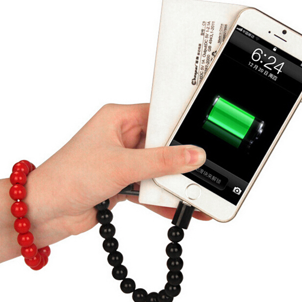 2015 NEW Candy Color Acrylic Buddha Beads Bracelet Usb Cable Usb For Iphone 5 5s 6 6PLUS SmartPhone(China (Mainland))