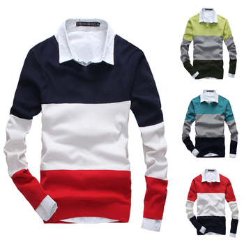 2014 New autumn\winter man's knitted sweater Fashion contrast colorV-neck mens casual sweater 5Color M L XL