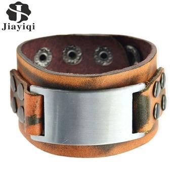Винтажный ручной работы натуральная кожа браслеты коричневый панк широкий браслеты ...