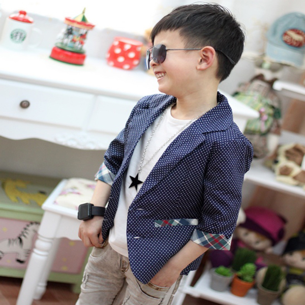 fashion Kids Baby Boys Plaids Check Dots Casual Suit Jacket Coat Costume 2-7 Years Rose color XL169 fashion(China (Mainland))