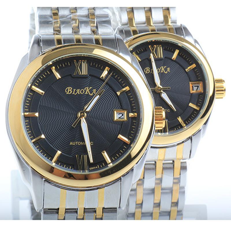 New Fashion Top Brand Luxury Unisex Mechanical Watches Full Stainless Steel Calendar Golden Case Watch Men Gift Lovers Watches<br><br>Aliexpress