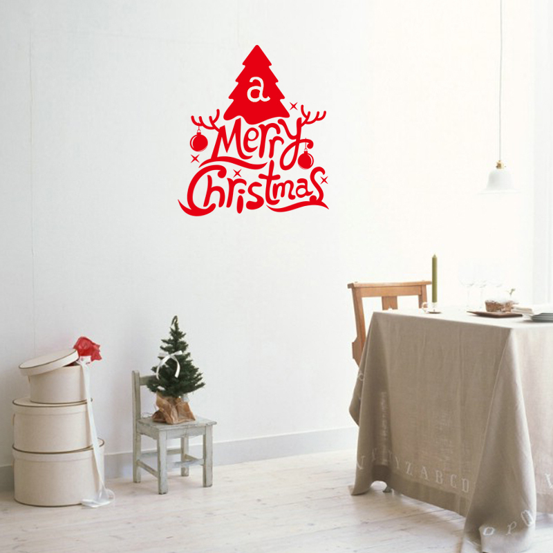 hot red art merry christmas wall stickers decals window display decoration Xmas19(China (Mainland))