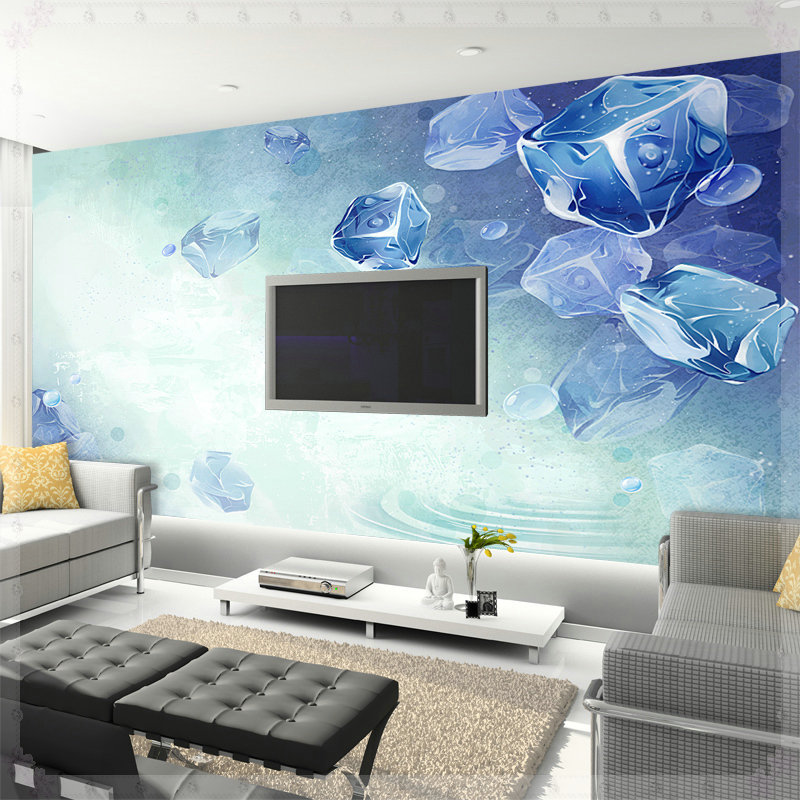 Summer cool wallpaper sofa tv mural bedroom wallpaper 3d for 3d wallpaper bedroom ideas