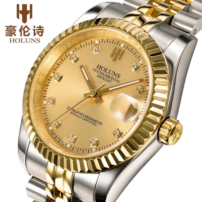 2015 New original luxury brand 18 k gold set auger man fully automatic mechanical watch waterproof business fashion watches(China (Mainland))