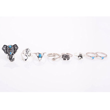 Bohemian Style 8pcs/Pck Vintage Silver plated accessories turquoise Elephant snake ring set for girl wholesale J-142