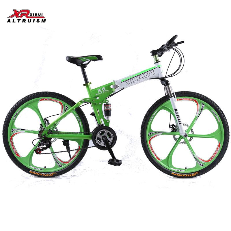 XIRUI X6 Mountain bike 21 speed women folding 26inch bicycles full suspension mountain bikes frame green kids Road bicycle(China (Mainland))