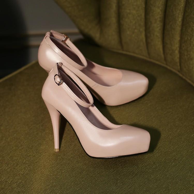 Pumps Woman's shoes woman Genuine Leather 33 high heel 10.5CM Platform 2.5CM EUR Size 32-39