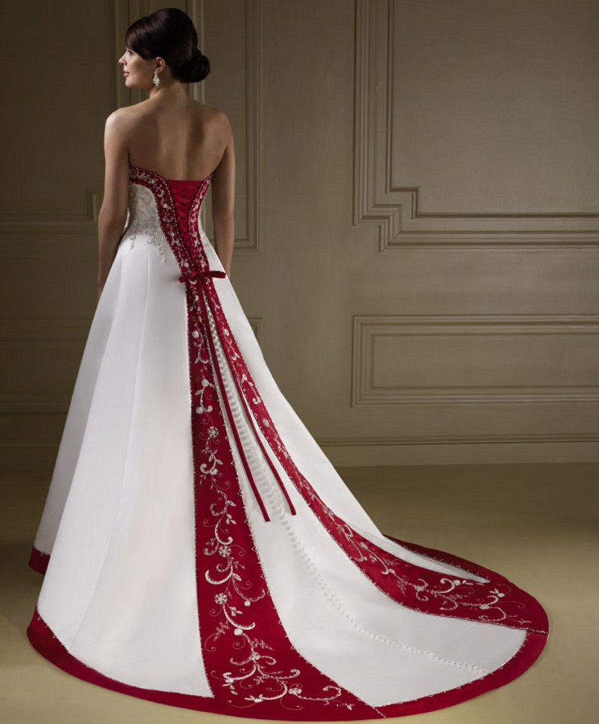 Buy bride bridal cheap red and white for White wedding dress cheap