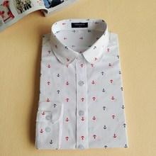 2016 Floral Turn-Down Collar Cotton Shirt Blusas Feminino Ladies Blouses Vintage Long Sleeve Blouse Cherry Womens Fashion Tops(China (Mainland))