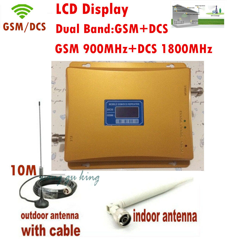 FULL SET High Gain GSM 900Mhz DCS 1800Mhz Mobile Cell Phone Signal Booster Amplifier RF Repeater Kit +10m cable +Sucker Antenna(China (Mainland))