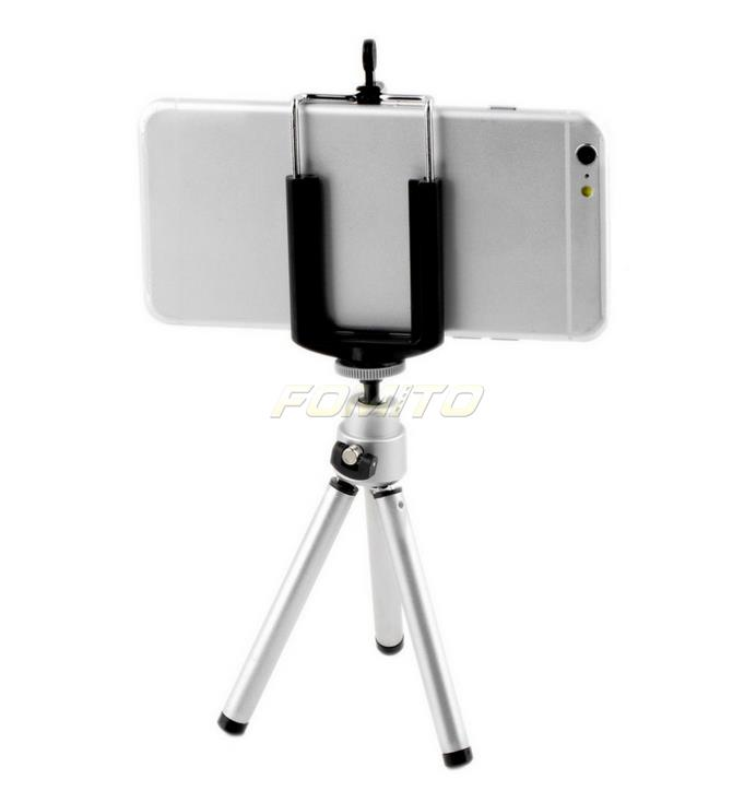 Mini Tripod Stand silver color 1/4 Holder+Phone clip Holder for Samsung for Galaxy S2 S3 S4 Note 2 3(China (Mainland))
