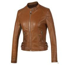 New 2014 Women's Winter Autumn Brown bomber motorcycle Leather jackets women 2 color brand za jacket jaqueta de couro Women coat