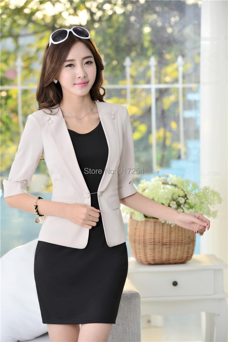 New 2015 Spring Summer Formal Work Wear Suits Blazer And Dress For Ladies Office Elegant Fashion Slim Women Beautician Set