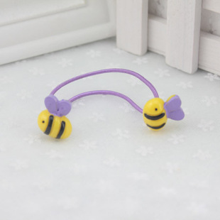Kids Cute Hair Rope Dance Bee Baby Girl Hair Ties Ring Rope Plastic Rubber Band Circle Ornaments Accessories Wholesale 2015(China (Mainland))