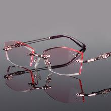 Pure Titanium Fashionable Lady Eye Glasses Diamonds Cutting Rimless Spectacle Frames Women