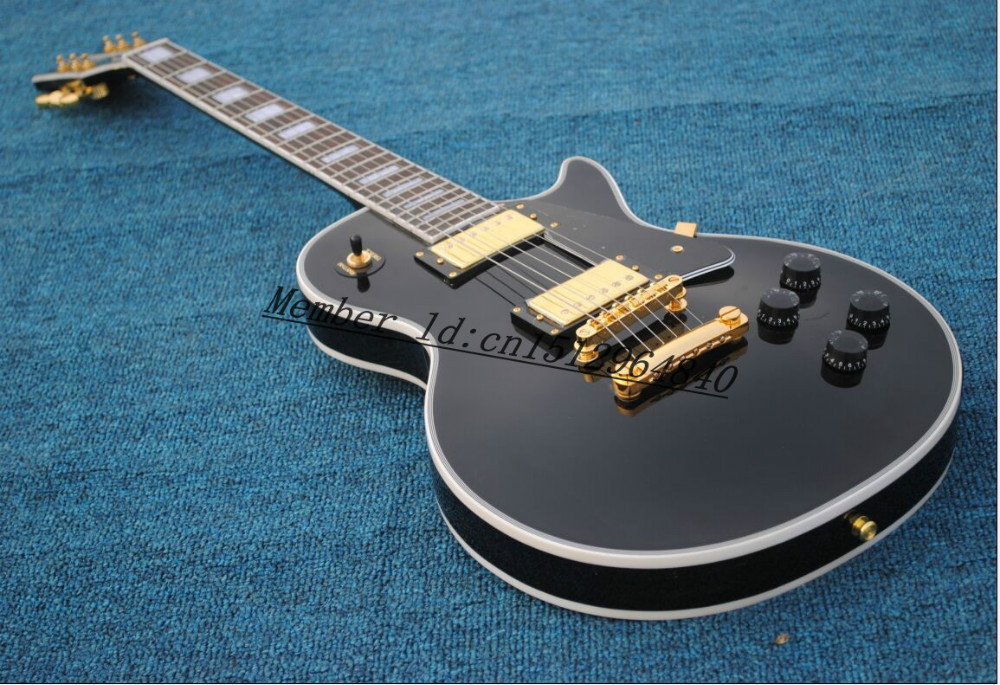 HOT!!!! New style LP Custom mahogany black color H-H Electric Guitar Golden Hardware!(China (Mainland))