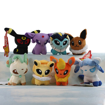 "Pokemon Umbreon Eevee Espeon Jolteon Vaporeon Flareon Glaceon Leafeon Plush Toys 6"" Soft Stuffed animals 8pcs/lot"