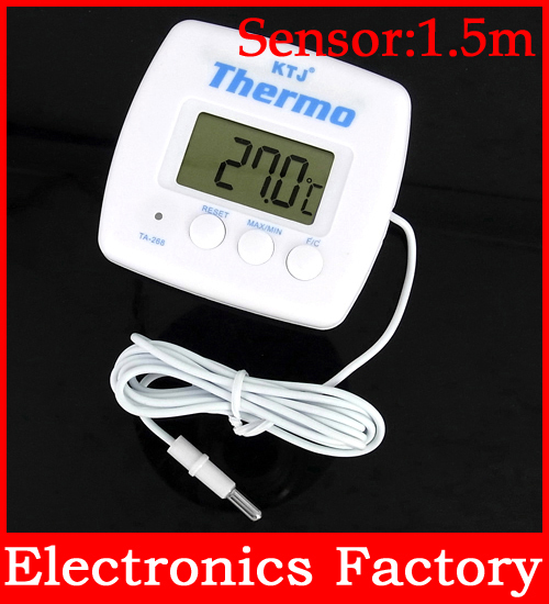 Wireless LCD Digital Indoor Outdoor Auto Car Refrigerator Thermometer Temperature Tester Meter Instruments + sensor Probe 1.5m(China (Mainland))