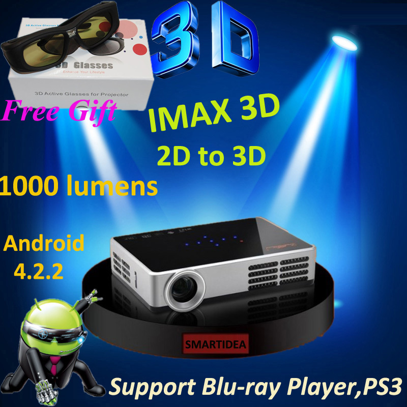 Free gift 3D glasses Full HD 1280*800 Active Shutter 3D Android 4.2.2 Wifi DLP LED Projector,mini 3LED LED DLP Android Proyector(China (Mainland))