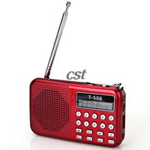 Portable Red Digital LED Light Stereo MINI FM Radio MP3 Music Player Speaker Support USB Disk/MicroSD Card