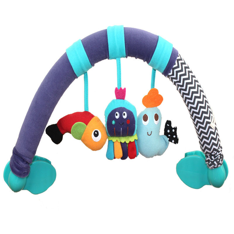 Fish Octopus Baby Stroller Rattles Mobile Baby Bed Music Seat Take Along Travel Arch Baby Toys 0-12 Months(China (Mainland))