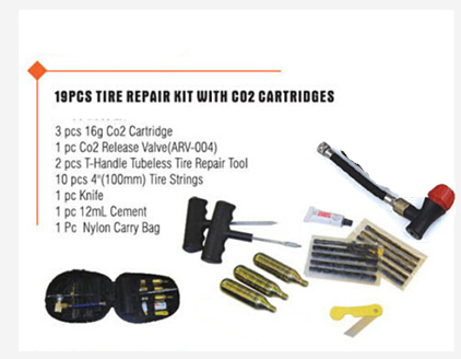 Motorcycle Bike Auto Tubeless Tire Tyre Repair Kit w co2 cartridges + glue, knife ,Repair Strip Puncture Plug for emergency(China (Mainland))