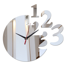 2016 new arrival home decoration acrylic mirror wall clock safe modern design large digital watch sticker freeshipping(China (Mainland))