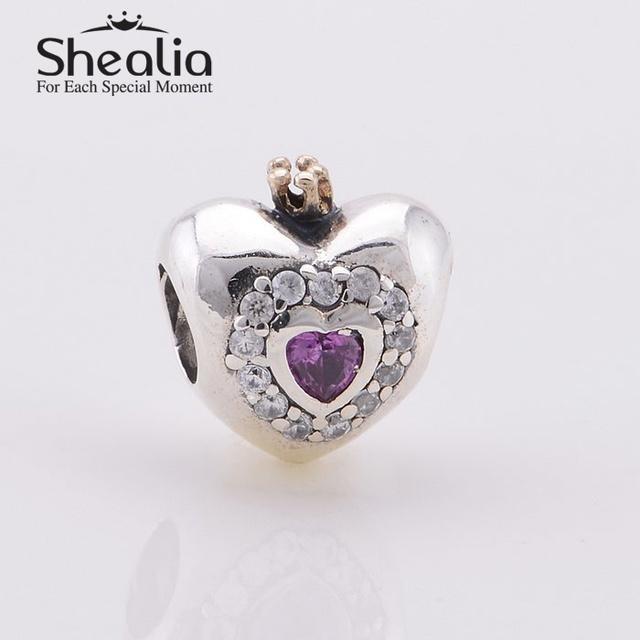 2014 новый настоящее 14 К золото розовый принцесса шармов сердца серебряные ювелирные изделия 925 подходит известный бренд DIY шарм браслеты дизайн