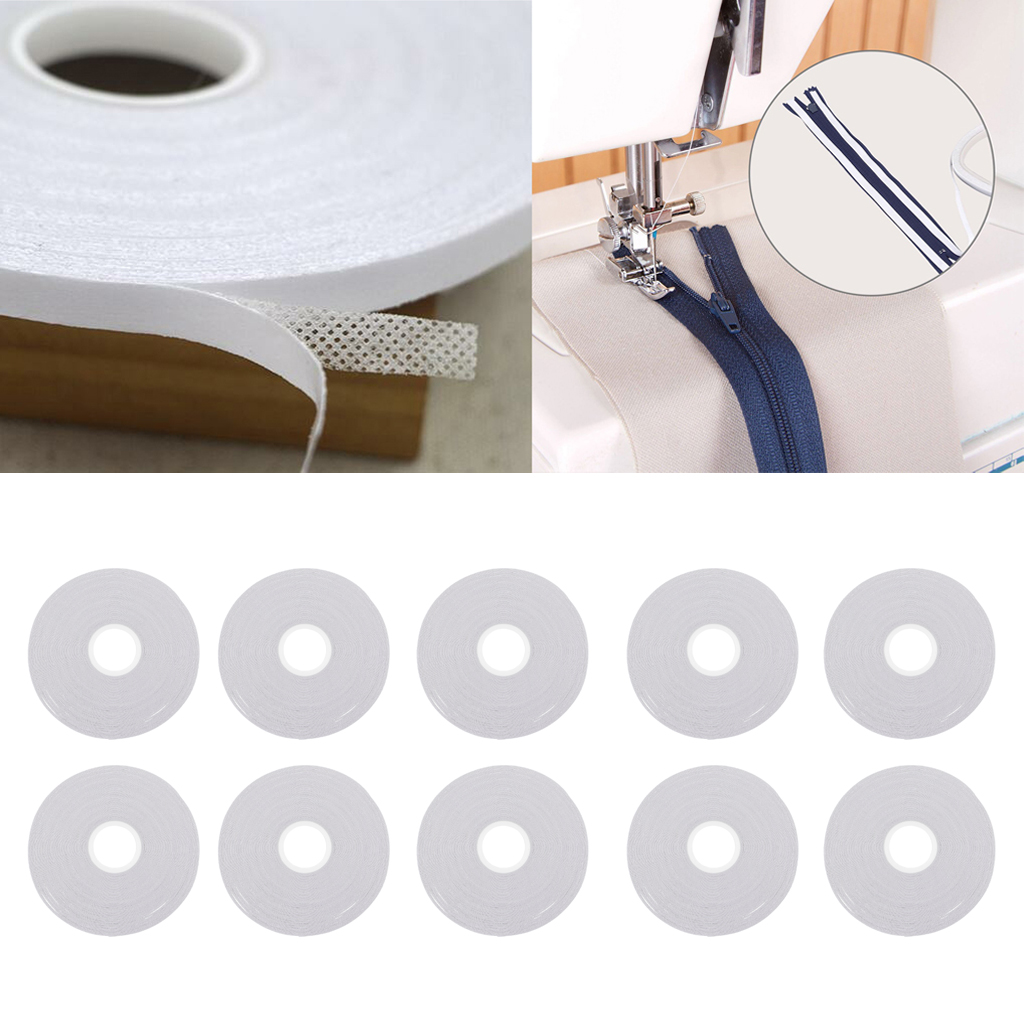 10Pcs Double Sided Adhesive Tape for Sewing Quilting Wash Away Tape 20 Meters, 6mm