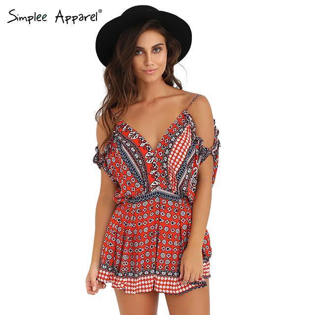 Simplee Apparel 2015 summer Женщины v neck strap backless Повседневный Мини jumpsuit ...