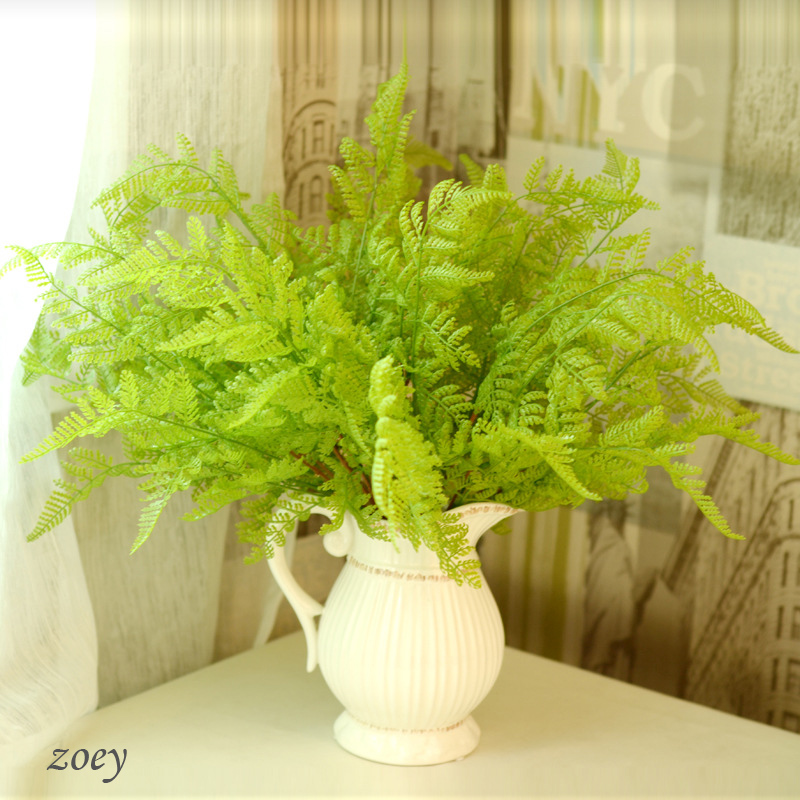 2016 Free Shipping new green Imitation Fern Plastic Artificial Grass Leaves Plant for Home Wedding Decoration Arrangement(China (Mainland))