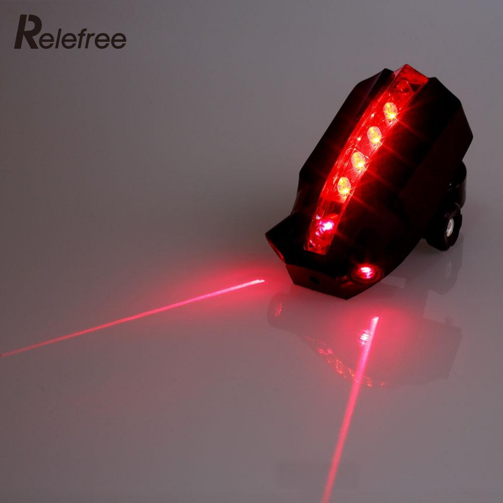 5 LED 2 Laser Beams Intelligent Bicycle Bike Taillight Safety Rear Light(China (Mainland))