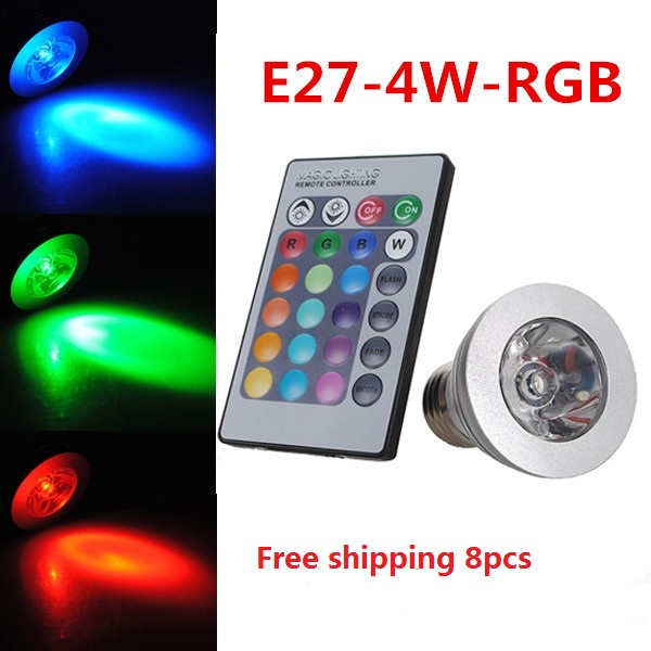 New Arrival 4W E27 RGB 16 Colors LED Light Bulb Lamps Spotlight 85-265V + IR Remote Controller Free shipping<br><br>Aliexpress