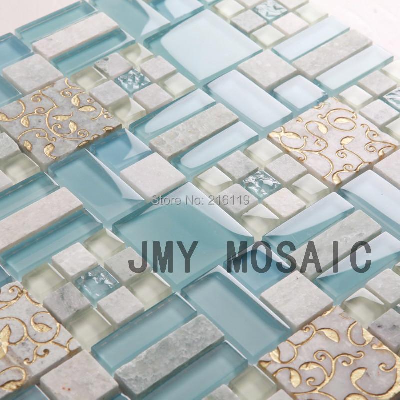 Azulejos Para Baño De Cristal:Blue Glass Mosaic Tile Bathroom