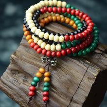 108pcs New Fashion Ethnic jewelry Bodhi Buddha beads vintage bracelet,Pure Handmade Jewelry multi layers sandalwood bracelet(China (Mainland))