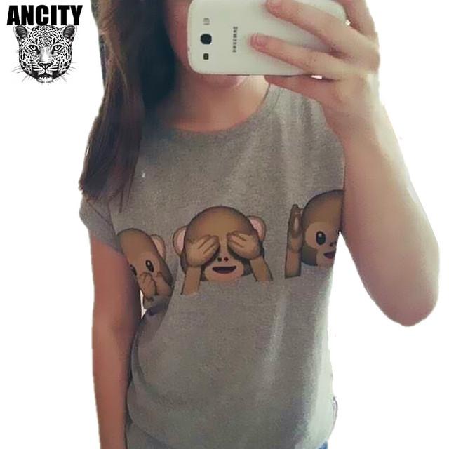 Ancity европа 2016 забавный обезьяна эмоция выражения женщины футболка хлопок O шея короткая раза рукав женский tshirt топы ти WS852