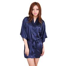 Women Silk Satin Short Night Robe Solid Kimono Robe Fashion Bath Robe Sexy Bathrobe Peignoir Femme Wedding Bride Bridesmaid Robe(China (Mainland))
