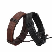 Simples unisex couro genuíno real pulseira jóias, moda artesanal do punk masculino do couro das mulheres dos homens pulseira pulseira envoltório