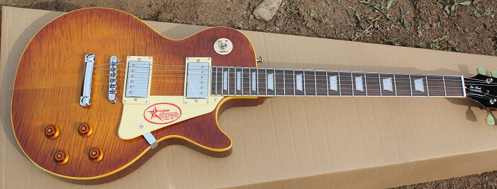 Top Selling #2, JIMMY PAGE 59 LP VOS, Flame Maple Top, Ice Tea Burst, Yellow Binding(China (Mainland))