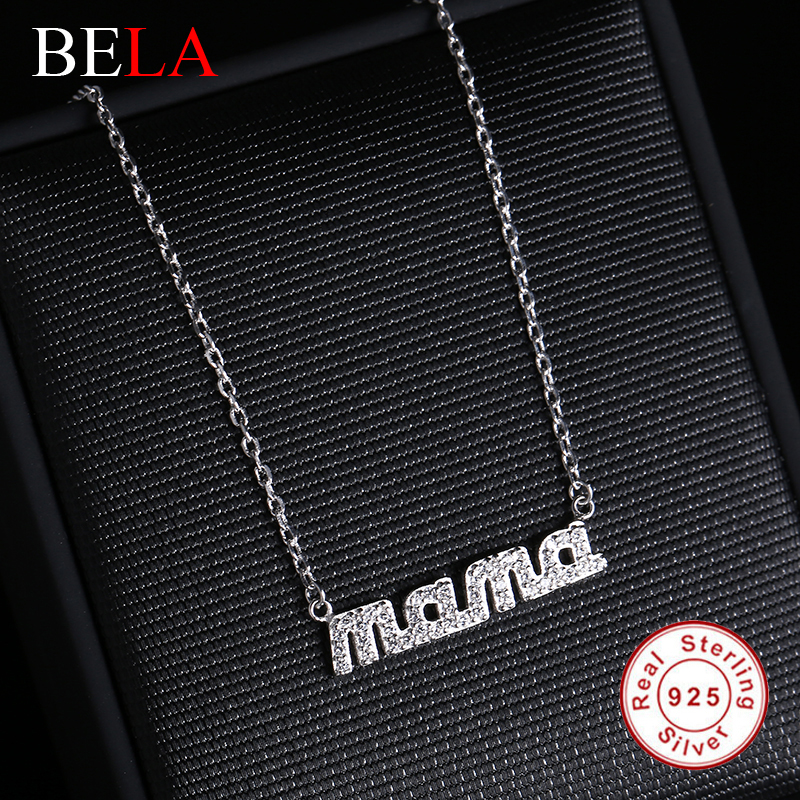 "100% 925 sterling silver Necklaces AAA Cubic Zircon Diamond Crystal Alphabet ""mama"" pendant Necklace for women Authentic Jewelry(China (Mainland))"