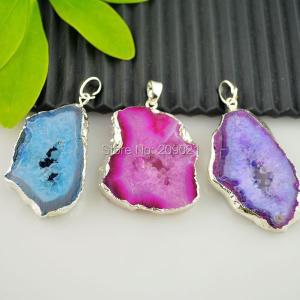 6pcs Druzy Drusy Quartz Geode Silver Plated Agate Pendant in Mixed color, gem stone Charms Pendants findings(China (Mainland))