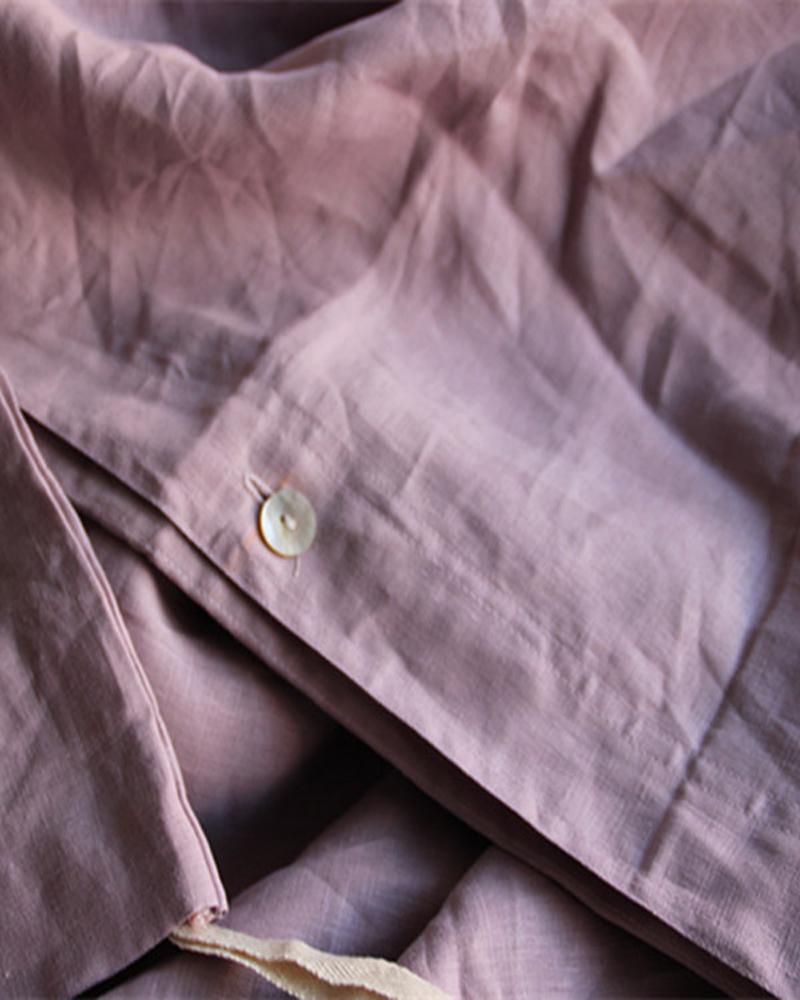 4pcs 100% Washed Purple French Flax linen bedding set Duvet Cover Flat Sheet Pillowcase Pillowcases Shams Queen King Full L(China (Mainland))