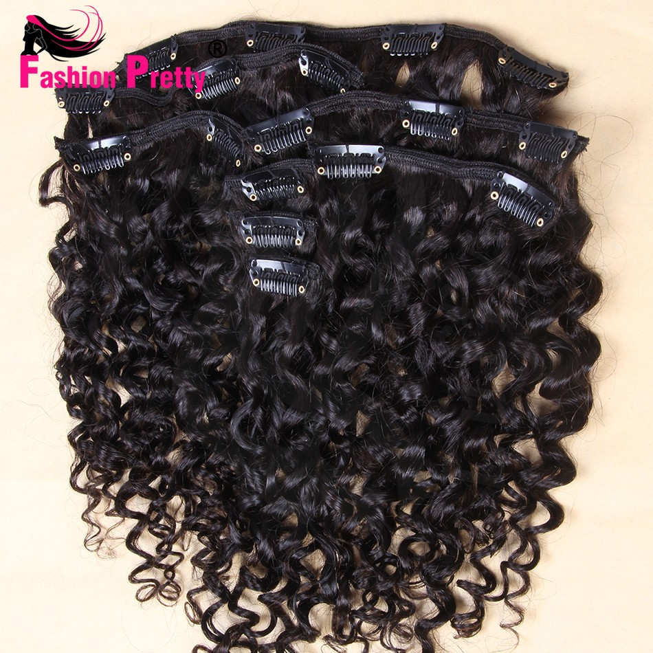 100% Unprocessed Brazilian Virgin Human Hair Tight Kinky Curly Clip In Human Hair Extension 70-100g Clip Ins Weave Clip In Hair