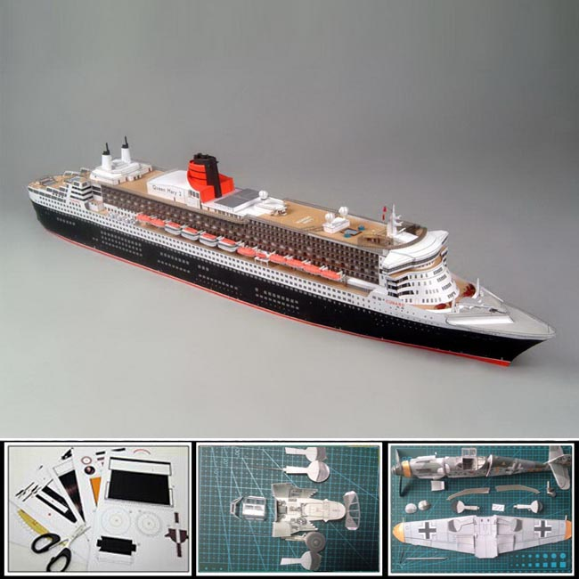 Free shipment New Paper ships Model British passenger ship QUEEN MARY 2, 1:400 scale 86CM 3d puzzles toys model diy papercraft(China (Mainland))