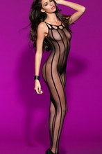 2014 Women Cut out Striped Sheer Open Crotch Body Stockings Lingerie See Through Forplay Intimate Lace Bodystocking LC79461