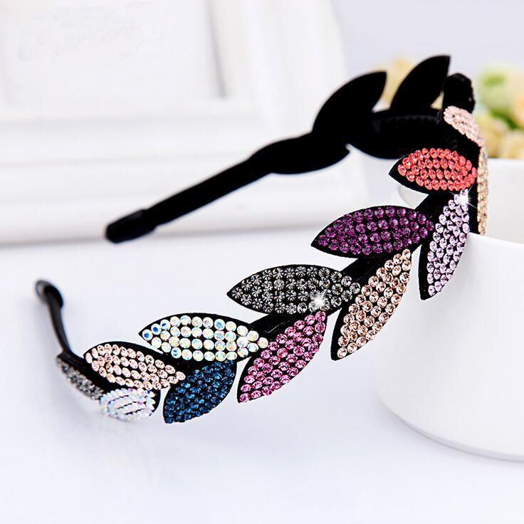 Elegant Leaf Design Luxury Austrian Rhinestone Hairbands Girlfriend Mother Gift Quality Crystal Headbands Woman Hair Accessory(China (Mainland))