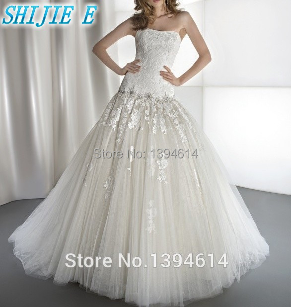 2014 high quality lace floral trailing white cream for Cream colored lace wedding dresses