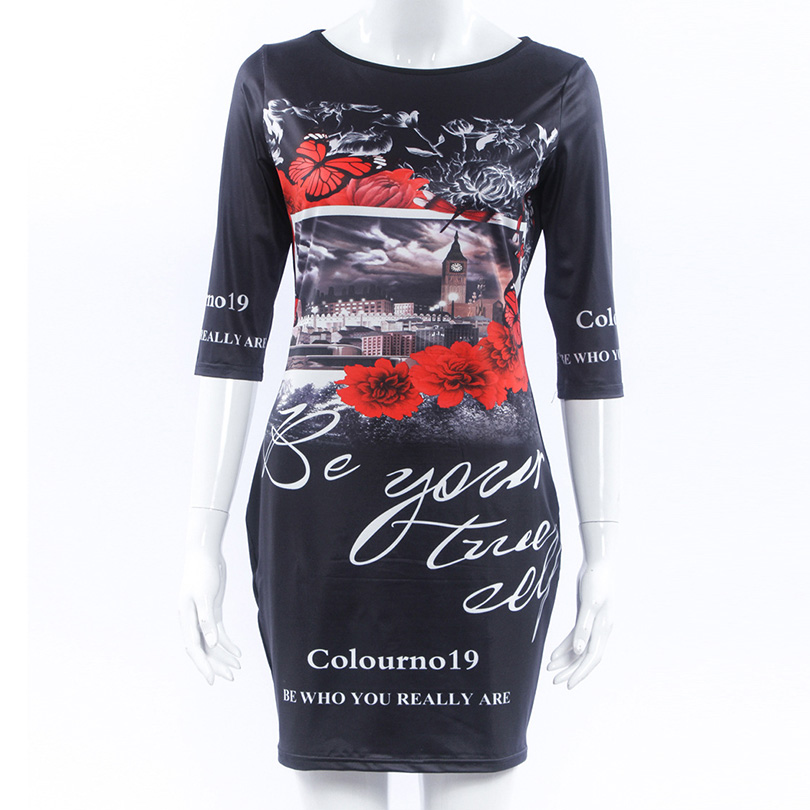 2016 Summer Fashion Personalized Print Slim mini Dress New Women Pencil Dress Casual Bandage Bodycon Women Clothing(China (Mainland))