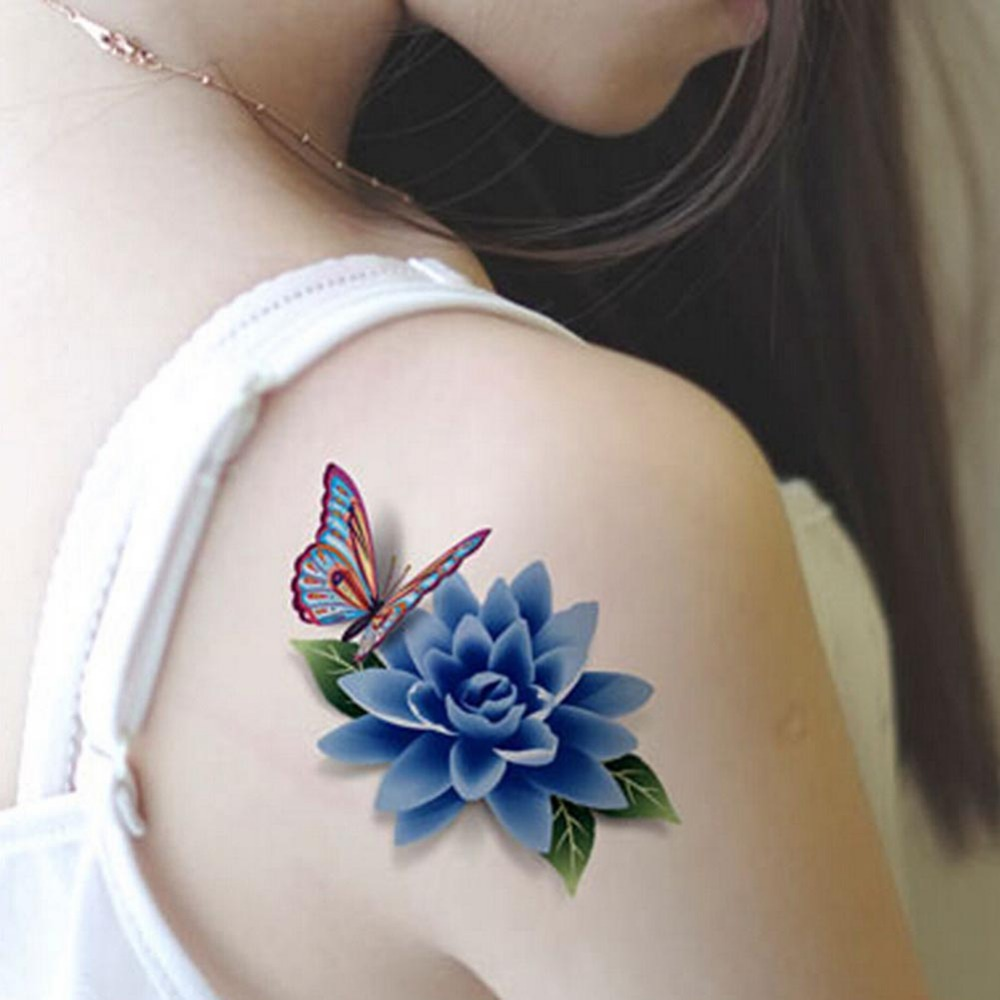 Body Art 3D Tattoo Sleeve DIY Stickers Body Waterproof Temporary Tattoos Rose Butterfly Tattoo Sticker HB0055H03(China (Mainland))